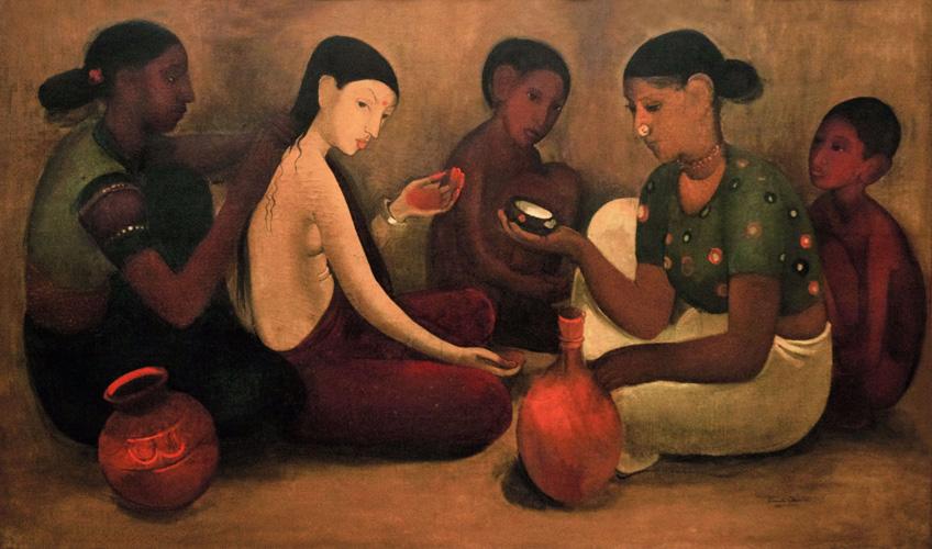 Image result for Bride's Toilet, Amrita Shergil, Oil on Canvas, 1937